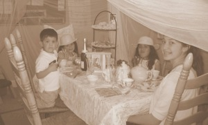 tea time with all kids at table