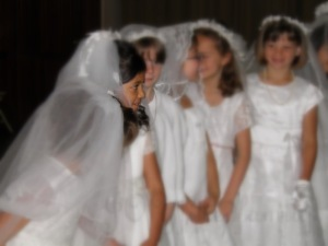 girls waiting for mass blur