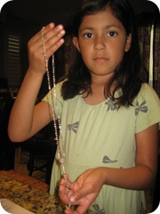 prep sparkles with gold communion rosary