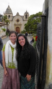 liss and mom in front of mission carmel