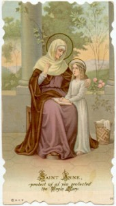 trad holy card of st anne