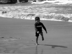 papi splashing with joy