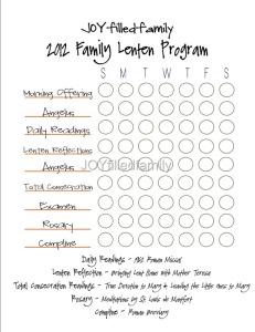 JOYfilledfamily Lenten Program Chart