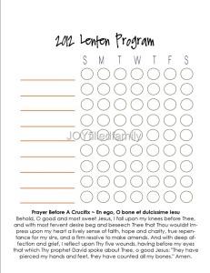 JOYfilledfamily Personal Lenten Program Chart - Blank
