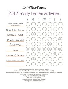 2013 Lenten Activity Chart JOYfilledfamily