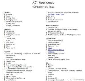 JOYfilledfamily Homebirth Supplies