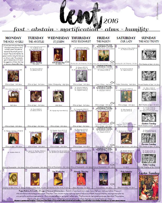 2016 Lenten Calendar JOYfilledfamily